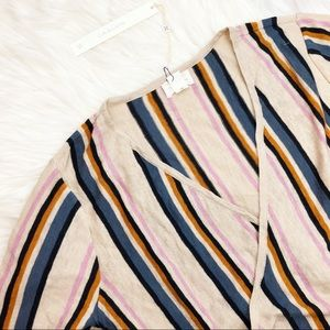 Caslon Sweaters - Oatmeal Striped Faux Wrap Short Sleeve Sweater